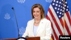 美國國會眾議院議長南希佩洛西2019年8月9日在薩爾瓦多舉行的一個新聞發布會上。