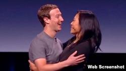 脸书创办人扎克伯格夫妇(扎克伯格脸书截图)