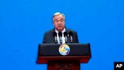 Le secrétaire général des Nations Unies, Antonio Guterres, prononce son discours lors de la cérémonie d'ouverture du deuxième Forum de coopération internationale entre ceintures et routes à Beijing, le vendredi 26 avril 2019.