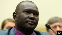 Rev. Andudu Adam Elnail, bishop in the Anglican Diocese of Kadugli, Sudan, testifies before the U.S. House of Representatives Foreign Affairs Committee on Africa, Global Health, and Human Rights Subcommittee hearing on Capitol Hill, August 4, 2011