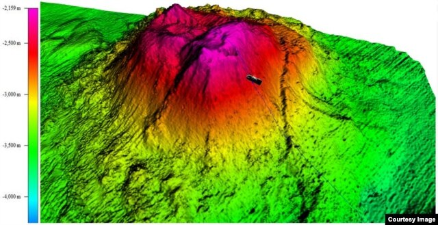 A 3-D view of volcano, with an added icon showing the location of the towfish that slammed into it in January 2016 and sank. (Photo courtesy of ATSB)