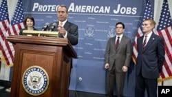 El republicano John Boehner dio una conferencia de prensa este miércoles en el Capitolio.