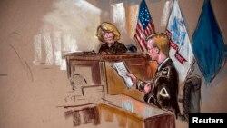 Ilustración del soldado Bradley Manning cuando se disculpa ante la jueza Denise Lind.