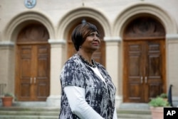Mayor Victoria Jackson-Stanley poses for a photograph outside the Dorchester County Courthouse in Cambridge, Md., a stop on the Harriet Tubman Underground Railroad Byway.