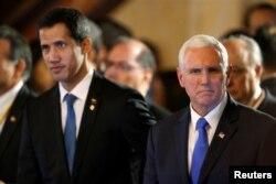 美国副总统彭斯在哥伦比亚首都波哥大会见委内瑞拉反对党领袖瓜伊多