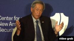 新加坡国防部长黄永宏在华盛顿智库新美国安全中心讲话。(2015年12月9日)