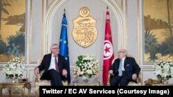 Le président tunisien Béji Caïd Essebsi et le président Jean-Claude Juncker de la Commission européenne, lors d'une conférence de presse conjointe, Tunis, 25 octobre2018. (Twitter/EC AV Services)