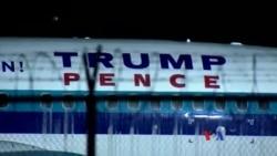 美國共和黨副總統候選人彭斯乘坐飛機滑出跑道