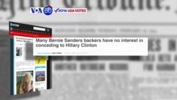 VOA60 Elections - USA Today: Bernie Sanders supporters have no interest in conceding to Hillary Clinton