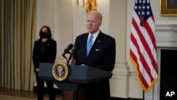 پرزیدنت بایدن در جریان سخنرانی روز سهشنبه در کاخ سفید