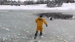 Пожежники врятували собаку із замерзлого ставка в штаті Колорадо. Відео