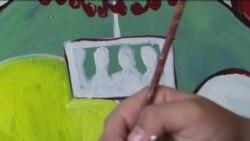 فلسطینۍ مېرمنې ملک ماتار د مصورۍ په هنر کې نوم گټلی دی