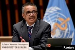 El director general de la OMS, Tedros Adhanom Ghebreyesus, en una conferencia de prensa en Ginebra, Suiza, en julio de 2021