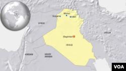 Bản đồ Thị trấn Sinjar ở Iraq.