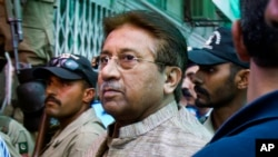 FILE - In this April 20, 2013 photo, Pakistan's former President Pervez Musharraf arrives at an anti-terrorism court in Islamabad, Pakistan. A Pakistani court sentenced the country's former military ruler to death on Tuesday, Dec. 17, 2019.