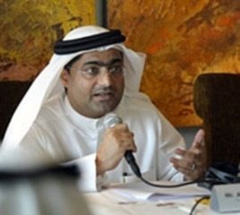 Emirati blogger and human rights activist Ahmed Mansour speaks during a press conference in Dubai, UAE, January 26, 2011