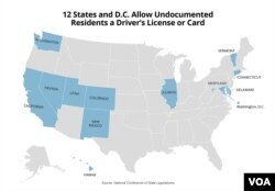 12 states and D.C. allow undocumented residents a driver's license or card (M. Sandeen/VOA)