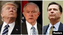 Sòti agoch ale adwat: Prezidan Donald Trump; Minis Jistis Jeff Sessions, epi ansyen direktè FBI James Comey.