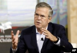 Republican presidential candidate former Florida Gov. Jeb Bush speaks during an education summit Wednesday, Aug. 19, 2015, in Londonderry, N.H.