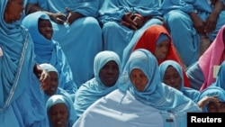 Women attend a ceremony marking Somalia's independence day in Mogadishu, July 1, 2012.