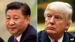 Prezidan ameriken an, Donald Trump, agoch, ak lidè chinwa, Xi Jinping, adwat.