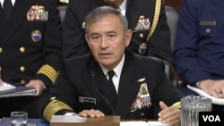 Đô đốc Harry Harris, chỉ huy trưởng Bộ tư lệnh Thái Bình Dương Mỹ, trong cuộc điều trần Ủy ban Quân vụ Thượng viện Hoa Kỳ, ngày 23/2/2016.