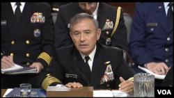Tư liệu- Tư lệnh Bộ Chỉ huy Thái Bình Dương Hoa Kỳ, Đô đốc Harry Harris trong một buổi điều trần tại Thượng viện, ngày 23 tháng 02 năm 2016.