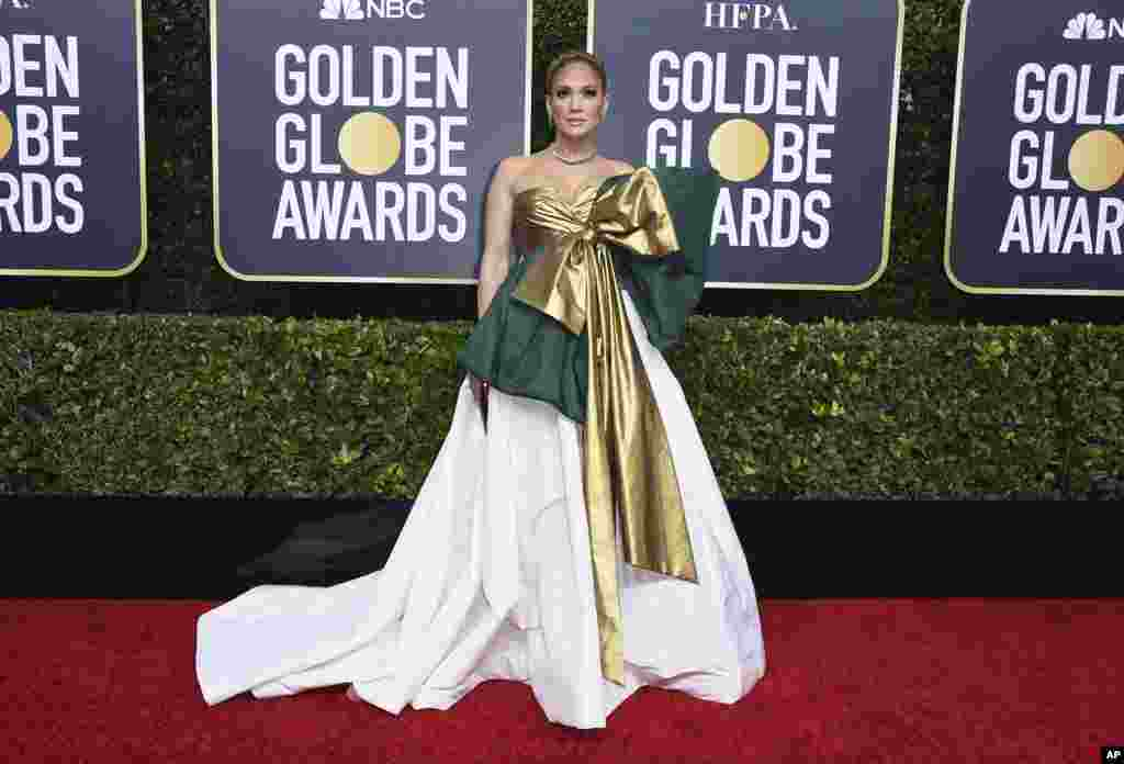 Jennifer Lopez arrives at the 77th annual Golden Globe Awards at the Beverly Hilton Hotel, Jan. 5, 2020, in Beverly Hills, California.