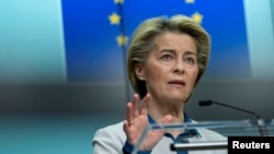 European Commission President Ursula von der Leyen speaks during a joint news conference with European Council President Charles Michel ahead of the G7 summit, at the EU headquarters in Brussels, Belgium June 10, 2021.