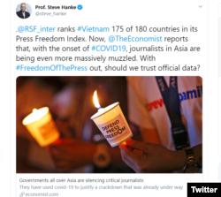 Dòng tweet nói về tự do báo chí ở Việt Nam của giáo sư Steve Hanke hôm 18/06/2020.