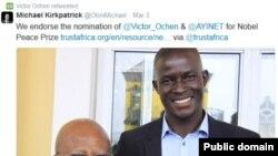 Victor Ochen, annonçant sa nomination pour le prix Nobel de la paix