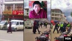 Young Tibetan Monk Kalsang Shouting Free Tibet Slogan in Ngapa Tibet