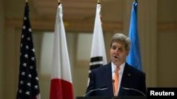 존 케리 미국 국무장관이 23일 뉴욕에서 열린 북한인권 관련 장관급 회의에서 발언하고 있다.