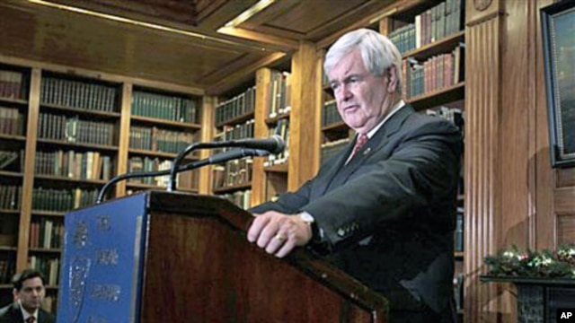 Republican presidential candidate and former House Speaker Newt Gingrich speaks at a news conference in New York, December 5, 2011.