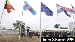 Inauguration du chantier de construction de la nouvelle ambassade de Belgique, à Kinshasa, le 12 août 2013.