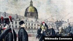 """""""ალფრედ დრეიფუსისთვის რანგის ჩამორთმევა"""" - ჰენრი მილერის ნახატი, საფრანგეთის ეროვნული ბიბლიოთეკა. წყარო: ვიკიპედია"""