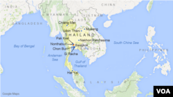 Thailand, featuring the cities of Bangkok, Mueang, Nonthaburi, Udon Thani, Chon Buri, Nakhon Ratchasima, Chiang Mai, Hat Yai, Pak Kret, and Si Racha