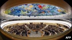 نمایی از شورای حقوق بشر سازمان ملل متحد در مقر اروپایی آن نهاد بین المللی در شهر ژنو سوئیس - آرشیو