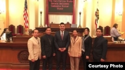 Cambodian Americans in California meet with Democratic California State Senator Ricardo Lara, who represents the 33rd Senate District, to support proposal for Cambodia 'sister' state at California State Senate, Monday, December 5, 2016.