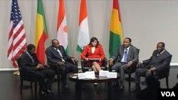 Predsjednici Obale Slonovače, Gvineje, Nigerije i Benina u Američkom institutu za mir, Washington 7. 28. 2011.