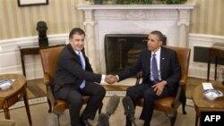 Tổng thống Hoa Kỳ Barack Obama hội đàm với Tổng thống Gruzia Mikhail Saakashvili tại Tòa Bạch Ốc hôm 30/1/12