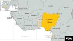 Peta wilayah Nigeria. Sedikitnya 24 anggota kelompok preman di sebuah desa di negara bagian Borno, Nigeria dilaporkan tewas diserbu tersangka militan, Jumat (30/8).