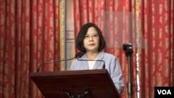 2016年8月20日,台湾总统蔡英文在台北宾馆会见媒体并接受提问。( 台湾总统府提供)