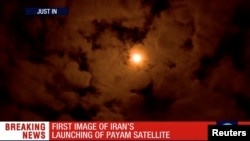 15일 이란이 발사한 인공위성 '파얌'이 상공을 향해 날아가고 있다.