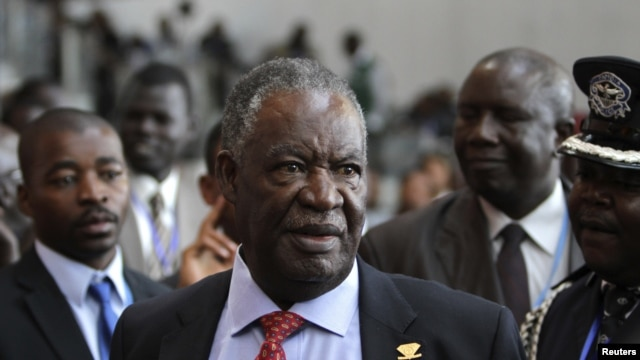 Zambia's President Michael Sata speaks to journalists at the 18th African Union (AU) summit in Ethiopia's capital Addis Ababa, January 30, 2012.