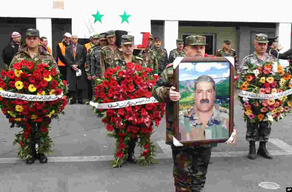 The funeral procession of Syrian General Mohammed al Awad Jan. 17, killed in Damascus on Monday. (E. Arrott/VOA)