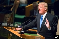 U.S. President Donald Trump speaks during the 72nd session of the United Nations General Assembly at U.N. headquarters in New York, Sept. 19, 2017.