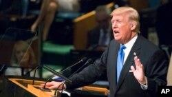 Presiden AS Donald Trump menyampaikan pidato dalam sidang tahunan ke-72 Majelis Umum Perserikatan Bangsa-Bangsa di markas PBB, New York, Selasa 19 September 2017. (AP Photo / Mary Altaffer)
