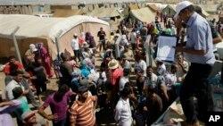 叙利亚北部的库尔德人逃难者