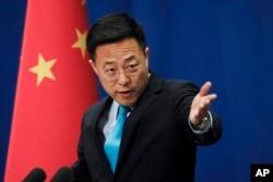中國外交部發言人趙立堅在例行記者會上。 (2020年2月24日)